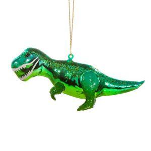 Sass & Belle T Rex Dinosaur Green 3D Bauble Hanging Decoration Christmas Tree