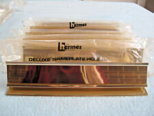 "6 Hermes Gold Nameplate Desk Holders - Fits 9"" X 1 1/2"" Plastic Or Metal Plate"
