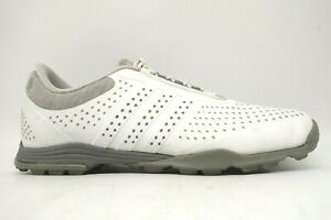 Adidas Gray White Leather Casual Lace Up Spikeless Golf Shoes Women's 8.5