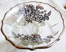 VTG STERLING SILVER CITY ON CLEAR CRYSTAL GLASS FLOWERS FOOTED BOWL DISH