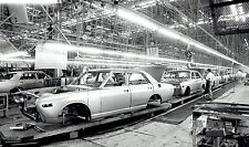1976 Vintage Photo cars assembly line at Nissan Motor Co. plant in Togichi Japan