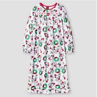New Girls Peanuts Snoopy Woodstock Christmas Long Sleeve Nightgown Size Medium