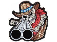 "(F15) SHOTGUN WILLY SKULL 4"" x 4"" iron on patch (4663) Biker Patches"