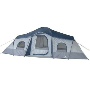 10 Person Family Cabin Tent 3 Room Outdoor Camping Shelter Blue Hiking hunting