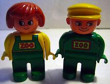 Lego Duplo ZOOKEEPER Worker Man Woman Green/Yellow Figure *Lot of 2* Zoo Animal