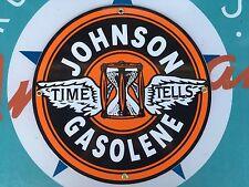 """top quality JOHNSON GASOLENE """"time tells"""" porcelain coated 18 GAUGE steel SIGN"""