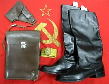 High Boots Soviet Russian Army Officer Thin Leather Size 43 tablet belt USSR