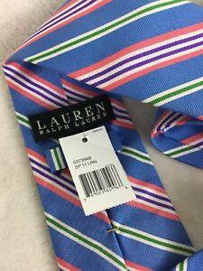 """Lauren Ralph Lauren Men's Neck Tie Blue Striped 100% Silk Hand Made New! 3 5/8"""""""