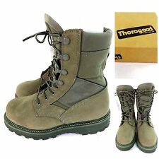 THOROGOOD AIR FORCE SAGE GREEN HOT WEATHER STEEL TOE COMBAT BOOTS VIBRAM 7.5 R