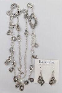 LIA SOPHIA SILVER TONE NECKLACE+EARRINGS SET