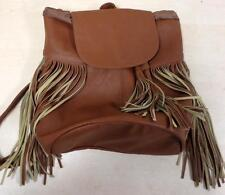 Woman's Mossimo Brown Faux Leather Backpack/Purse with Fringe Detail-NEW