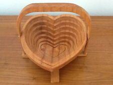 Vintage Deep Spring Heart Shaped Collapsible Wooden Basket