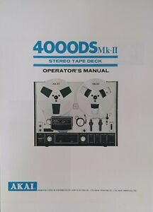 Akai 4000DS MK-II 2 Reel to Reel Tape Deck Instruction - USER & SERVICE  MANUAL