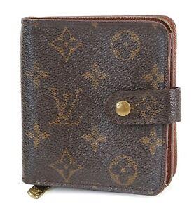 Auth LOUIS VUITTON Monogram Bifold Snap Compact Wallet Zipper Coin Purse #40690A