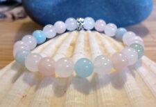 Serene Natural Beryl Morganite Aquamarine COPD Reiki Crystal Healing Bracelet