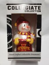 Iowa State Cyclone Red Shiny Metallic Snowman Christmas Figurine Ornament NEW