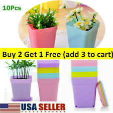 New Listing10Pcs Flower Plastic Pots with Saucer Plant Nursery Tray Seedling Home Garden Us