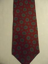 "Oleg Cassini Silk Tie Red Gray Polka-Dots Design 56.5"""
