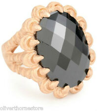 """Magnificent  nOir Jewllery Rose """"Gold"""" Claw Holding Black CZ Ring  Size: 6  NEW"""