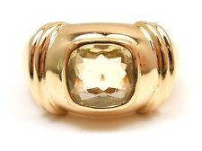 AUTHENTIC POIRAY 18K YELLOW GOLD LEMON GREEN QUARTZ RING, SIZE 6.5