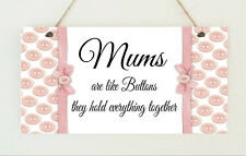 Beautiful Chic Plaque MUMS ARE LIKE BUTTONS Present Mothers Day Shabby Sign