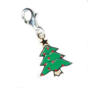 Silver / Enamel Christmas Tree Clip-on Charm