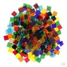 500x Multicolor Klar Platz Glas Mosaik Tessera DIY Handwerk 10x10mm