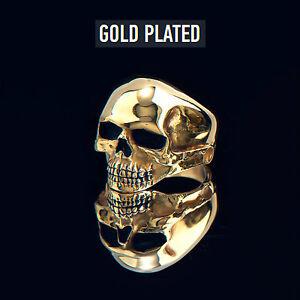 Keith Richards 24k Gold Plated Silver Skull Ring Rock Biker Punk Goth