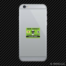 Zombie New Jersey State Hunting Permit Cell Phone Sticker Mobile NJ