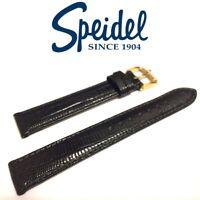 16mm SPEIDEL 892330 BLACK TEJU LIZARD GRAIN STITCHED SEMI-GLOSS WATCH BAND STRAP