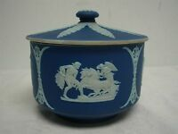 "ANTIQUE WEDGWOOD MADE IN ENGLAND DARK BLUE JASPERWARE 5 1/4"" COVERED BOWL"