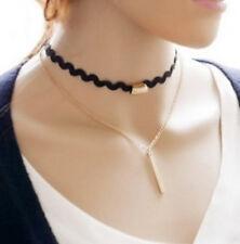 Wellen Kropfband Halsband Halskette Choker Collier 2 reihig mit Anhänger
