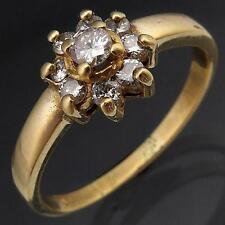 Lower set 9k Solid Yellow GOLD 9 x DIAMOND ROUND DAISY CLUSTER RING Sz O