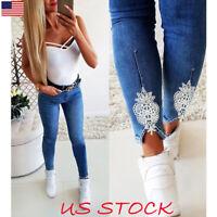 Women Skinny Jeans Plain Denim Blue Stretchy Slim Pants Jegging Long Trousers US