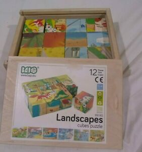 bajo wooden toys 6-in-1 landscapes cube puzzle set of 12 4cm wood block cubes