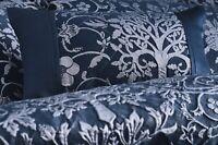 Oak Tree Navy Blue Filled Boudoir Cushion Floral Bird Jacquard Cushion 32 x 50cm