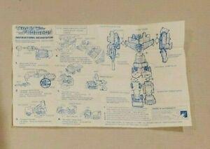 Vintage 1984 Hasbro Transformer Devastator Instructions