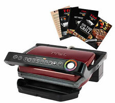T-FAL GC704 OPTIGRILL W/ RECIPE BOOKS INDOOR ELECTRIC GRILL REMOVABLE PLATES RED