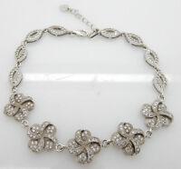"""Solid Vintage Sterling Silver 925 Round CZ Flower Filigree Bracelet-7.5"""""""