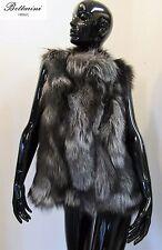 PELLICCIA di volpe argentata silver fox fur vest fourrure renard pelz zorro gilè