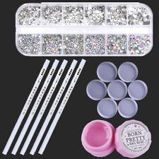 AB Color Flat Back Rhinestone 10g Nail Decor Glue Picker Wax Pen Circular Plates