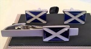 TIE BAR OR CLIP & CUFFLINKS SET - SALTIRE SCOTLAND FLAG CROSS OF ST ANDREW TBC22