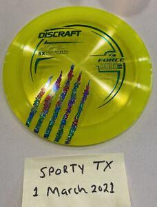 Discraft Paul McBeth 5x Claw Z Force Disc Golf 173g  glitter rainbow & grn stamp