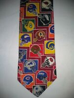 Mens SURREY Neck Tie NFL Football Helmet Theme Multi-Colored Standard Size U.S.A