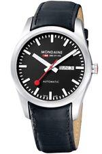 Mondaine Men's A132.30345.14SBB Retro Swiss Automatic Day-Date Black Dial Watch