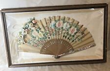 Antique Hand Painted Fan Floral With Mother of Pearl Paper Framed Old Beautiful