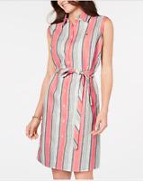 Tommy Hilfiger Women's Striped Belted Shirtdress