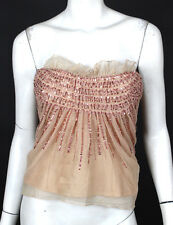DIOR Nude Beaded & Sequin Embellished Tulle Strapless Bustier Top 38