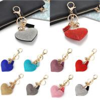 Love Heart Keychain Full Crystal Key Ring Women Charm Bag Pendant Tassel Keyring