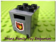 LEGO Minifigure Black Box 2x2x2 Container with Gray Fire/Flame Emblem Door Panel
